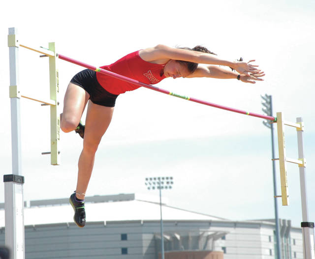 David Fong | Troy Daily News Troy senior pole vaulter Christine Moser, shown here competing at last year's Division I state track and field meet, recently signed her national letter of intent to attend school and vault at Wright State University.