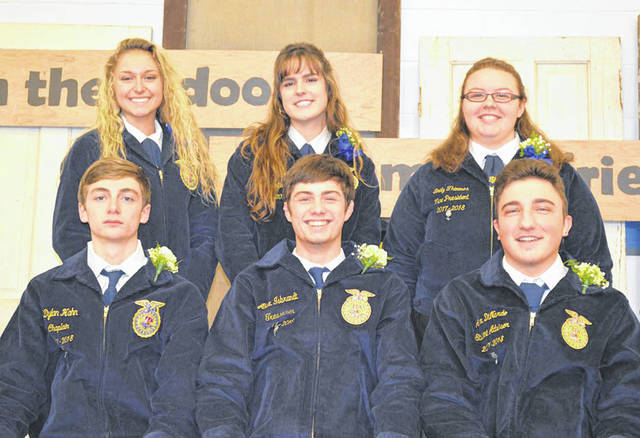 Provided photo The May 2018 Miami East-MVCTC FFA Members of the Month are, front row, left to right: Dylan Hahn, Alex Ibrandt, and Alex Dinardo; back row, left to right: Emma Younce, Rachael Hodge, and Emily Thimmes.