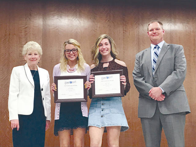 Top scholars, seniors with the highest four-year grade point average, calculated at the end of the seventh semester of the senior year and on a non-weighted 4.0 scale, were recognized and commended for their efforts. Pictured are UVCC Superintendent Dr. Nancy Luce, left, and Olivia Quinter and Haley Stein, along with Executive Director Jason Haak.