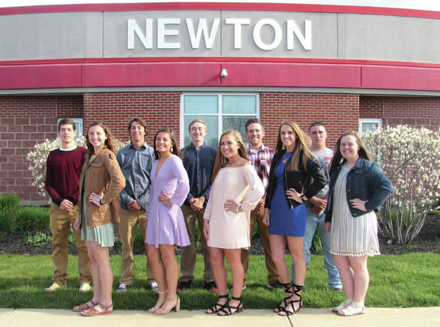 "Cody Willoughby | Troy Daily News Left to right, Treg Jackson, Macy Flanary, Nash Lavy, Rachel Kirk, Andrew (Cory) Rowe, Tatum McBride, Cole Weaver, Layla Robbins, Noah Weaver, and Kacie Tackett comprise 2018's Prom court at Newton High School. This year's theme is ""Written in the Stars."" The promenade is to be held in the junior high gymnasium on Saturday, May 5 at 7:15 p.m, where the crowning of Prom King and Queen will take place. A dance will follow at Troy Country Club from 8-11 p.m., with an After-Prom to be held at Newton High School from midnight to 3 a.m."