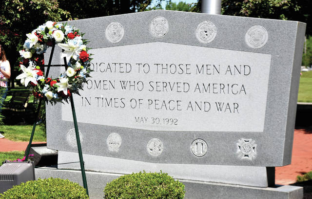 Cody Willoughby | Troy Daily News A formal wreath laid at the veterans memorial in Riverside Cemetery.