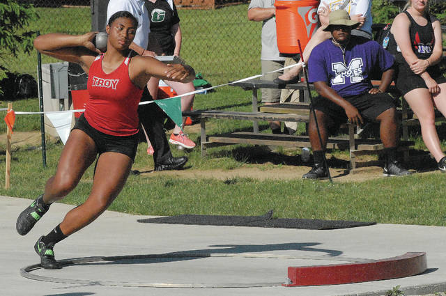 David Fong | Troy Daily News Troy sophomore Lenea Browder placed second in the shot put, earning a trip to state, at the Division I regional track and field meet Wednesday at Wayne High School.