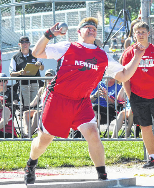 Rob Kiser/Call Photo Newton's Dawson Hildebrand finished second in the shot put Friday.