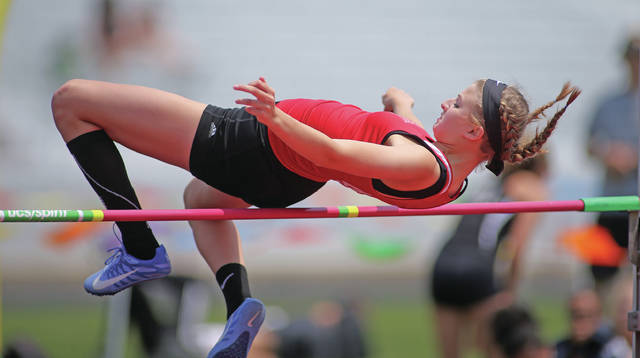 Photo Courtesy of Lee Woolery | Speedshot Photo Troy's Jessica Goodwin won the high jump at Wednesday's Greater Western Ohio Conference Division Meet at Troy Memorial Stadium.
