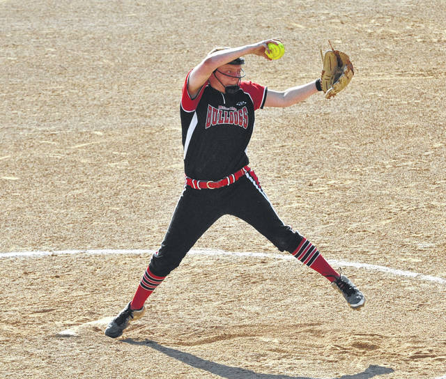 Josh Brown/Troy Daily News file Milton-Union's Mercedes Farmer was named the SWBL Buckeye Division's Pitcher of the Year following the spring season.