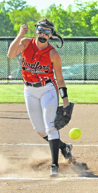 Josh Brown/Troy Daily News file Bradford's Skipp Miller was named the CCC Player of the Year in softball this spring.