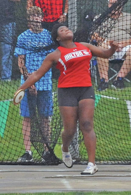 Josh Brown/Troy Daily News Milton-Union's Beyonce Bobbitt was the state runner-up in the discus at the Division II state meet Friday at Jesse Owens Memorial Stadium.