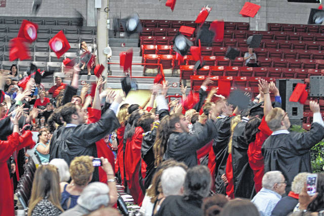 The Covington High School Class of 2018 tosses their hat in the air in celebration at Hobart Arena on Sunday