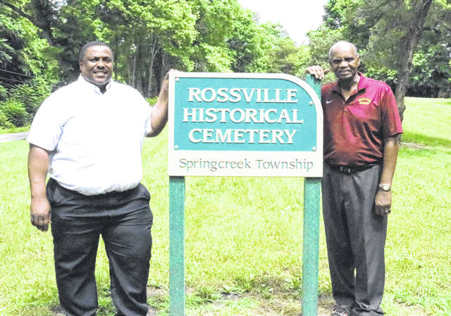Provided photo Kris Lee, left, and Larry Hamilton at the African Jackson Cemetery in Rossville.