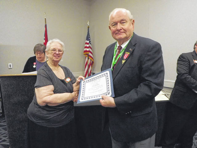 Provided photo Robert Spry of Tipp City received his award in April at a meeting of the Ohio Genealogical Society.