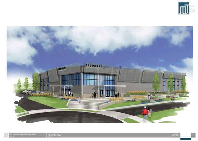 Artist's rendering Troy Christian Schools unveiled plans for a 39,000 square-foot performing arts center on Tuesday. The Arbogast Performing Arts Center can seat up to 1,200 people and provide a variety of space for students and the community.