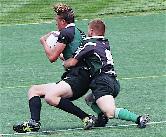 Provided Photo Caleb Hundley, of Troy Christian, makes a stop for the Miami County Bombers rugby club team.