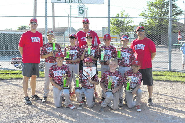 Provided photo The Troy Trojans 11u team won the 2018 11u Summer Kickoff Bash Tournament, held June 1-3 in Greenville, defeating the Stateline Sluggers 14-2 in the championship game. The team is: front — Chase Cooper, Ryan Stringer, Cooper Sexton, Carsen Riddle. Middle — Matthew Hempker, Aidan Scott, Dayne Schlagetter, Alexnder Hoenie, Liam Evilsizor. Coaches — Jim Hempker, Mick Berning, Mark Evilsizor. Not pictured — Max Berning, Caden Young, Vincent Crane, Brody Hoke.