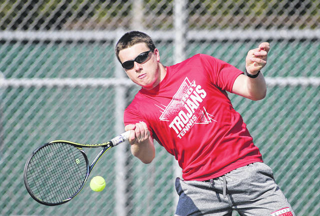 File photo courtesy Lee Woolery | Speedshot Photo John Wehrkamp, seen here playing for Troy High School during a match this spring, will play in this week's Frydell Junior Tennis Tournament beginning Wednesday at Troy Community Park.