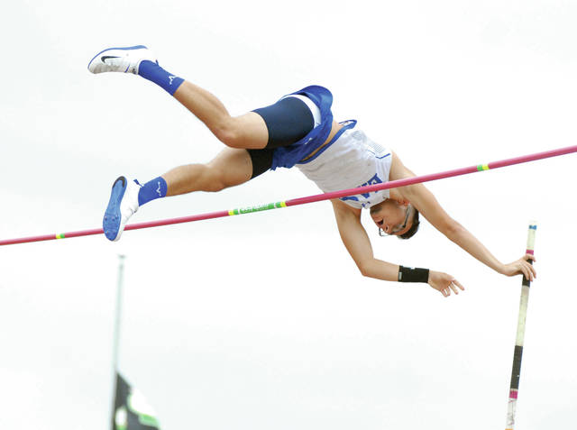 David Fong | Troy Daily News file photo Miami East's Blaine Brokschmidt, shown here competing at the Division II state track and field meet, competed at the New Balanace Nationals earlier this summer.