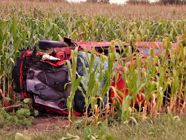 The driver of a Pontiac Sunfire was injured in a rollover crash on Ohio-Indiana State Line Road.