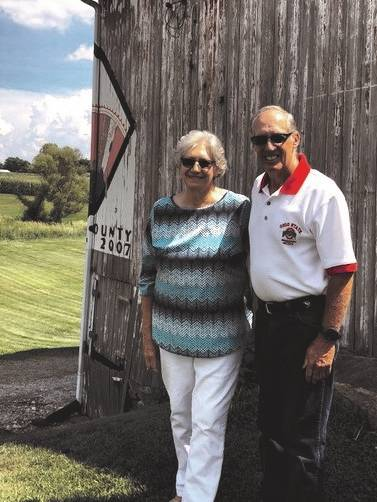 "Randy and Lynda Mott recently had their 89-acre farm in Elizabeth Township designed as an Ohio Century Farm. Their bank barn includes the Miami County Barn Quilt entitled ""Grandmother's Fan."""
