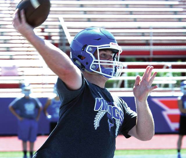 Mike Ullery | AIM Media file photo Miami East quarterback Ian Gengler delivers a pass during a 7-on-7 contest at Piqua High School earlier this summer.