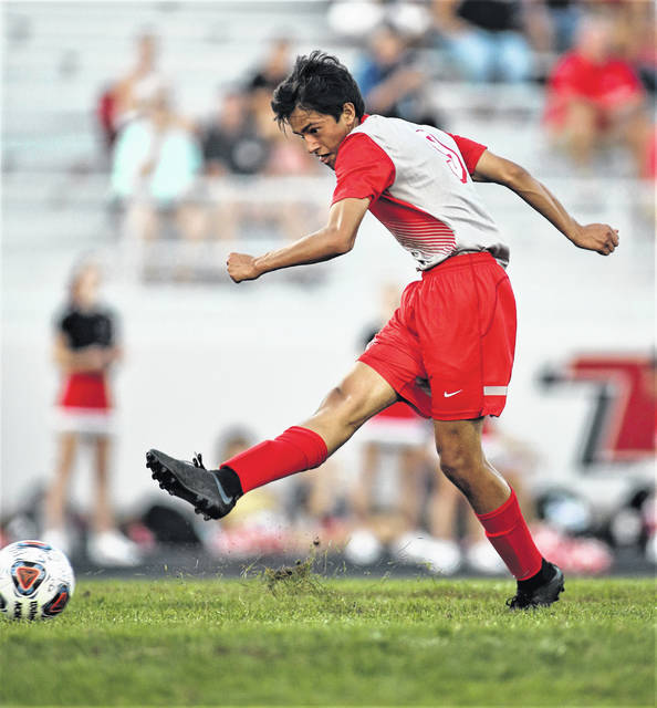 Lee Woolery/Troy Daily News Troy's Anthony Gonzalez scores a goal against Fairborn Tuesday at Troy Memorial Stadium.