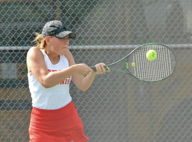 Josh Brown/Troy Daily News file Troy senior Katie Sherrick will be back at first singles this season.