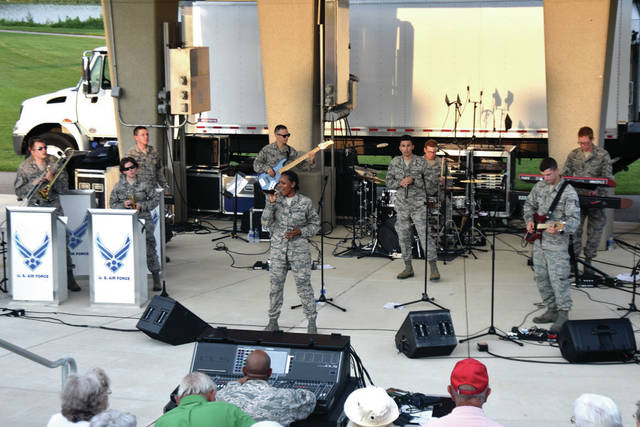Cody Willoughby | Troy Daily News Members of the United States Air Force Band of Flight serenade the crowd at Treasure Island Park on Sunday evening in Troy. Stationed at Wright-Patterson Air Force Base in Dayton, the 15-member organization serves the state of Ohio exclusively, and offers music and entertainment for a wide variety of official military, recruiting, and community relations events. For more information, visit www.music.af.mil/bands, or find USAF Band of Flight on Facebook.