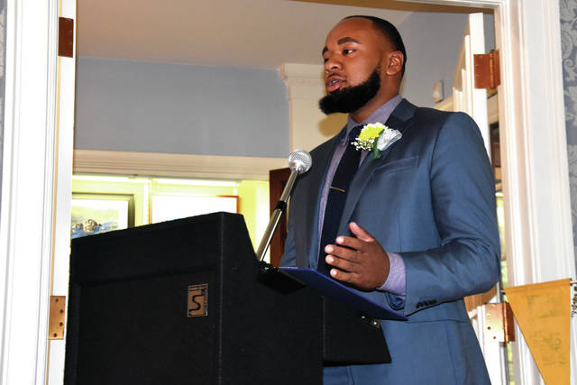 Cody Willoughby | Troy Daily News Guest speaker Kurtis Johnson addresses grant recipients during the Last Dollar Grants award ceremony on Wednesday at Troy-Hayner Cultural Center.