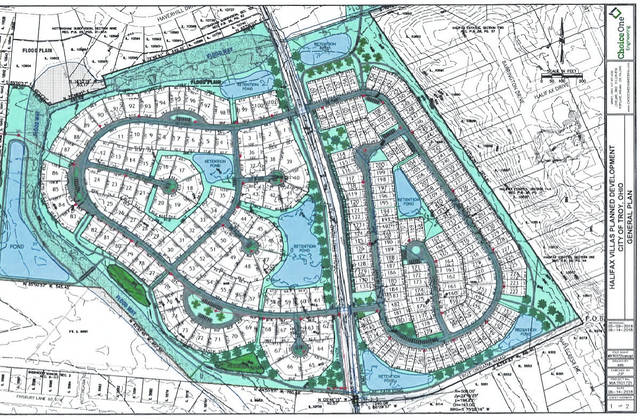 Provided graphic A layout of the proposed Halifax Villas, a proposed retirement community on both sides of Piqua-Troy Road.