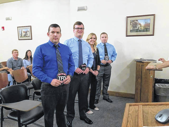 Troy City Council welcomed four new firefighters to the fire department at its meeting on Monday. The new members were appointed on Aug. 13. They are Brandon Cottrell, Sean Fellers, Jesse Hackney and Kendra Vanover. According to Chief Matt Simmons, Vanover is the city's first female firefighter and medic at the department.