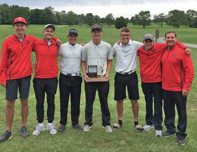 Provided photo The Troy boys golf team won a share of the GWOC American North Division championship at Thursday's Postseason GWOC tournament at Beechwood Golf Course.