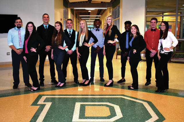 Cody Willoughby | Troy Daily News The Bethel High School 2018 Homecoming Court senior king and queen candidates include, from left, John Butler, Jessica Gilbride, Jared Evans, Connor Heck, Evan Hart, Emily Berkshire, Kendal James, Klaudia Lowery, Darrius Smith, Brodi Voight, Jacob Ullmer, and Kiara Bui.