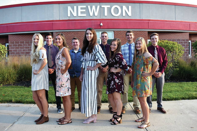 "Cody Willoughby | Troy Daily News Newton Local Schools has named its 2018 Homecoming court. Members include, from left: Madison Hildebrand, Chet Jamison, Michaela Kirk, Dylan Kline, Sarah Mitchell, Britton Schauer, Alyssa Rapp, Charlie Walker, Morgan Robbins, and Nathan Zielinski. This year's theme is ""Tis the Season for Winning."" The Homecoming court parade will be held at 6 p.m. Friday, with a ceremony following at 6:30 p.m. announcing the Homecoming king and queen. A boys' soccer game will follow at 7:15 p.m. Friday, in which the Newton Indians will vie against the Miami Valley Rams. The homecoming dance will follow from 8-10 p.m. Saturday in the Newton school cafeteria."