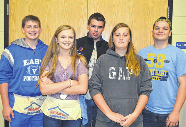 Provided photo The Miami East-MVCTC Rural Soils Team include, front row, left to right: Cadence Ray and Emma Sutherly; back row, left to right: Cael Rose, Sam Sutherly, and Kris Richey.