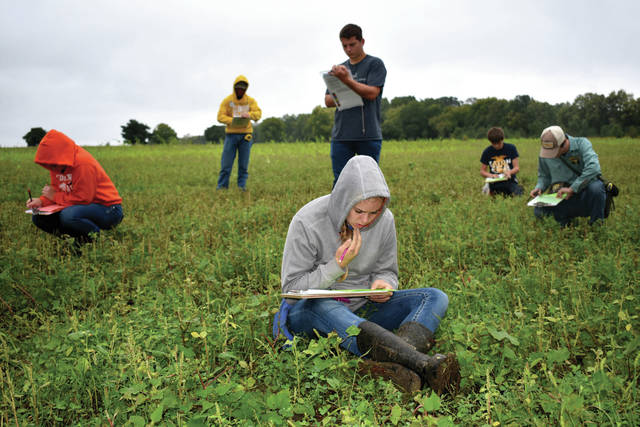 Cody Willoughby | Troy Daily News FFA students from throughout the Miami Valley take a general knowledge test during the District 5 FFA Soils Career Development Event on Wednesday at Lost Creek Reserve.