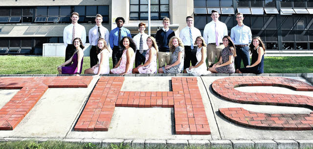 Lee Woolery | Speedshot.com Troy High School has named its Homecoming court. Candidates include, front row from left: Anya Coleman, Alexa Holland, Kiyha Adkins, Megan Malott , Mackenzie Evans, Emilie Farrier, Ciena Miller and Megan Wheeler, Back row: Spencer Klopfenstein, Jacob Adams, Jaydon Culp-Bishop, Seth Plantz, Luke Severt, Samuel Shaneyfelt, Jesse Westmeyer and Jake Darby. Friday night's football game will include the crowning of the king and queen. The Homecoming dance will be held from 8-11 p.m. Saturday at Troy High School.