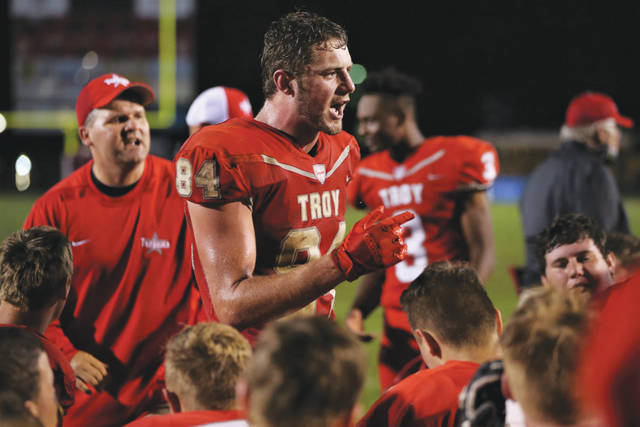 Lee Woolery | Troy Daily News Troy's Spencer Klopfenstein addresses the team following last week's win over Turpin.