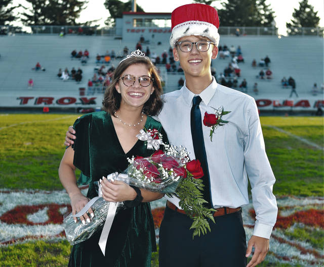 Lee Woolery | Troy Daily News Troy High School named its 2018 Homecoming king and queen on Friday night during the home football game against Tippecanoe High School. Anya Coleman was named queen and Jake Darby was crowned king. The Homecoming dance will be held from 8-11 p.m. Saturday at Troy High School.