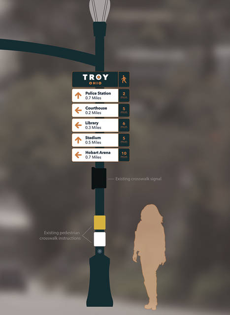 Troy will begin installing its new wayfinding signage next week. The project includes painting the poles and fixtures navy blue.
