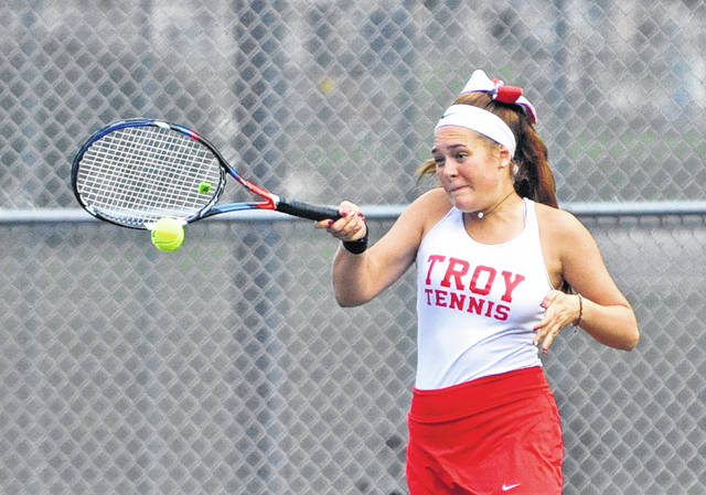 Josh Brown|Troy Daily News Troy's Katie Sherrick returns serve at the Division I sectional Tuesday at Troy Community Park.