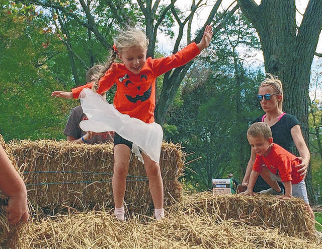Cody Willoughby | Troy Daily News Alexa Bade, 5, of Troy, takes a leap into the hay during 2017's ninth annual Fall Farm Fest at Lost Creek Reserve.