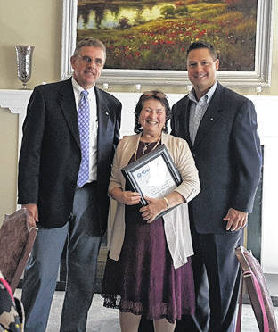 Provided photo Linda Lee Jolly with Allan Ganley and Kiwanis President Frank Stewart.