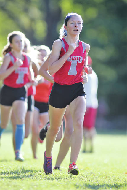 Lee Woolery | Troy Daily News file photo Troy senior Olivia Tyre will be competing in her fourth Division I state cross country meet Saturday at National Trail Raceway in Hebron.