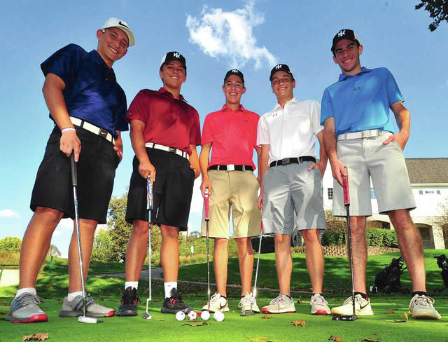 Mike Ullery|AIM Media The Newton golf team will play in the Division III state golf tournament Friday and Saturday at North Star Golf Course. The team includes (left to right) Ross Ferrell, Kleyson Wehrley, Garrett Peters, Nate Zielinski and Chet Jamison.
