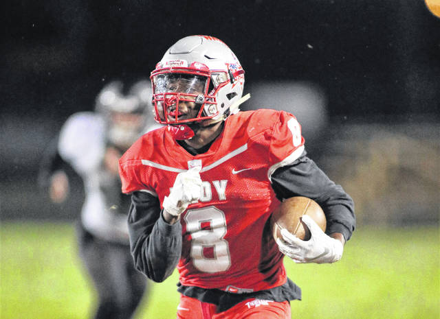 Lee Woolery | Miami Valley Today file photo Troy running back Jaydon Culp-Bishop was named Greater Western Ohio Conference American North Division Offensive Player of the Year for 2018.