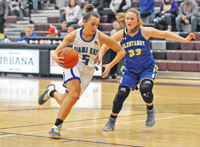 Josh Brown|Miami Valley Today Miami East's Morgan Haney drives around an Olentangy defender during the first game of the Skeeter Classic tournament Friday at Urbana High School.