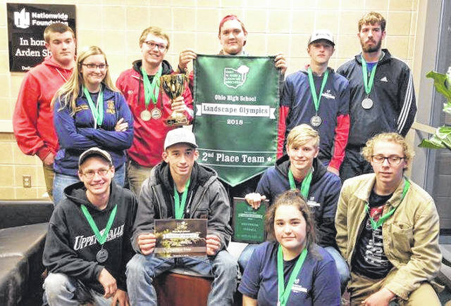 Provided photo Students in the Landscape Management program at Upper Valley Career Center recently took the second place overall team award at the third annual Ohio High School Landscape Olympics.