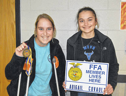 Provided photo The December Miami East-MVCTC FFA Members of the Month from left, Kearsten Kirby and Abigail Covault.