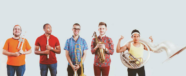 Provided photo Brass funk band Lucky Chops will perform at this year's Holiday Evening at Edison State Community College on Wednesday, Nov. 28. The quintet also will offer music education clinics to junior and senior high school students the following day.