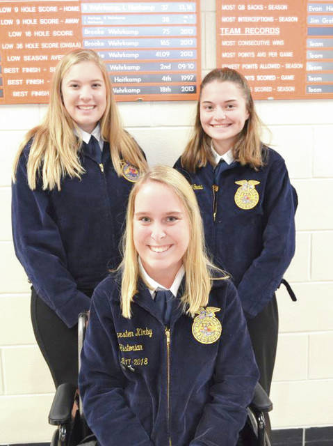 Provided photo Miami East-MVCTC FFA members competing in the District Job Interview Career Development Event were, left to right, Gretchen Stevens, Kearsten Kirby, and Abigail Covault.