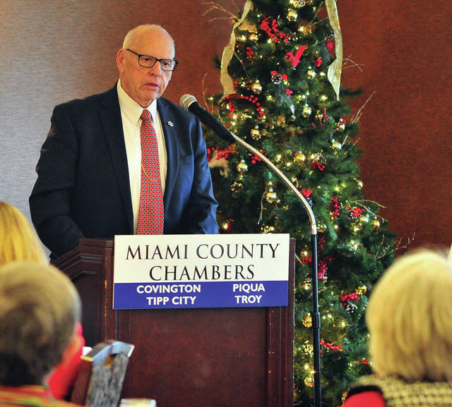 Mike Ullery | Miami Valley Today Miami County Commissioner Greg Simmons addresses chamber members and officials at Tuesday's State of the County luncheon at the Piqua Country Club.