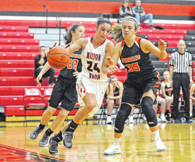 Josh Brown|Miami Valley Today Milton-Union's Kristen Dickison drives the ball along the baseline Thursday against Waynesville.